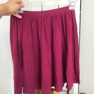 ASOS maroon pleated skater skirt
